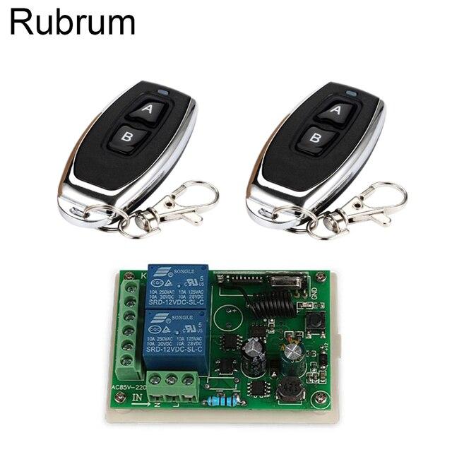 Rubrum 433 MHz AC 110V 220V 2CH Bộ Công Tắc Điều Khiển Từ Xa Điều Khiển + Đa Năng RF Tiếp Nhận đèn Nhà Để Xe Mở Cửa