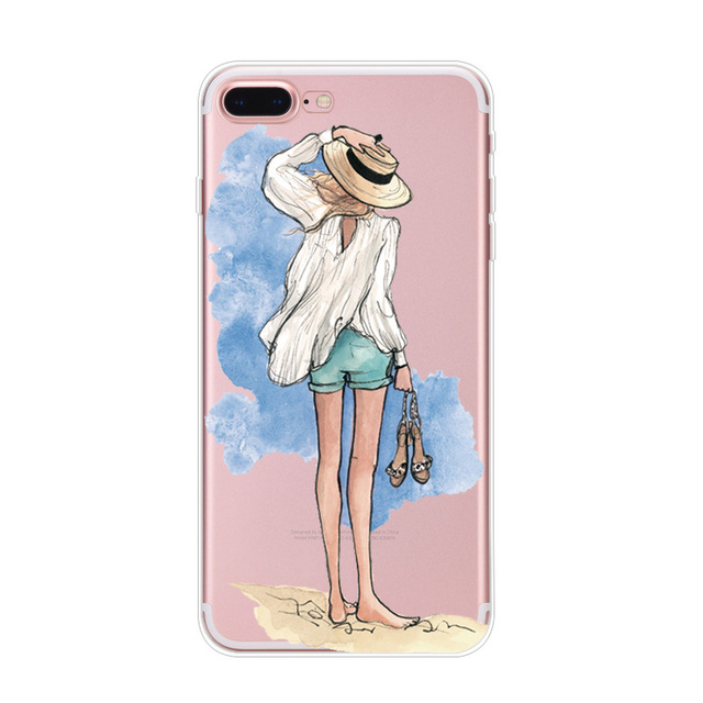 Soft-Phone-Cover-For-Coque-iphone-XS-max-Case-Dress-Girl-Print-Transparent-Silicone-TPU-Funda (3)