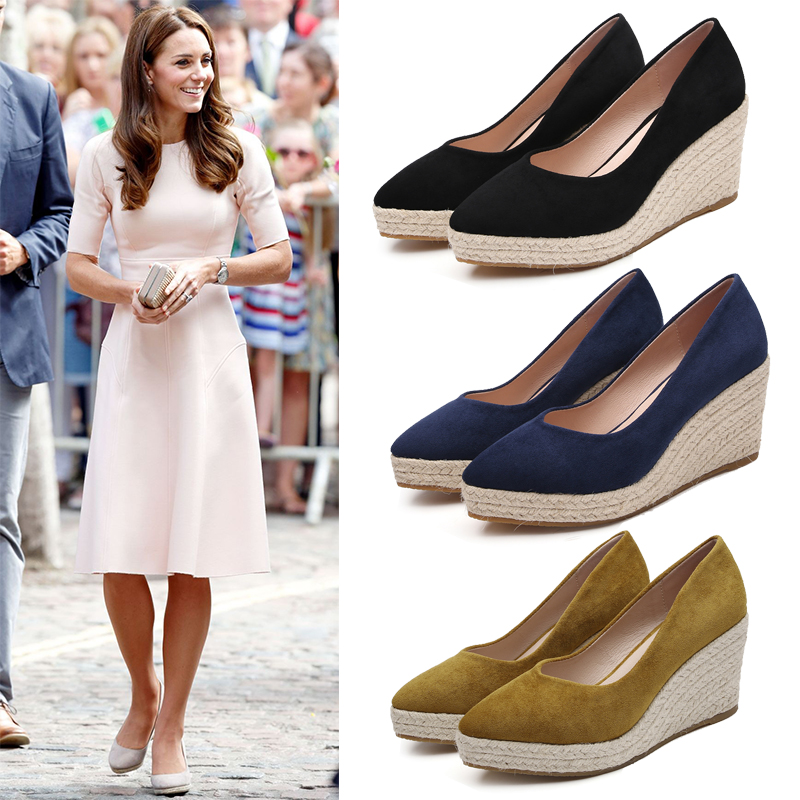 Kate Middleton  Single Shoes Comfort High Heels  Leather Shoes Wedge Heel Straw Lame Waterproof  Shallow Mouth Women's Shoes