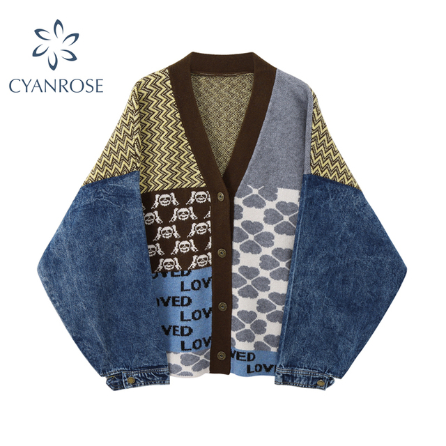 Vintage Knitted Cardigan Sweater Women Patchwork Denim Coat V Neck Long Sleeve Knitwear Casual Loose Outwear Female Tops 1