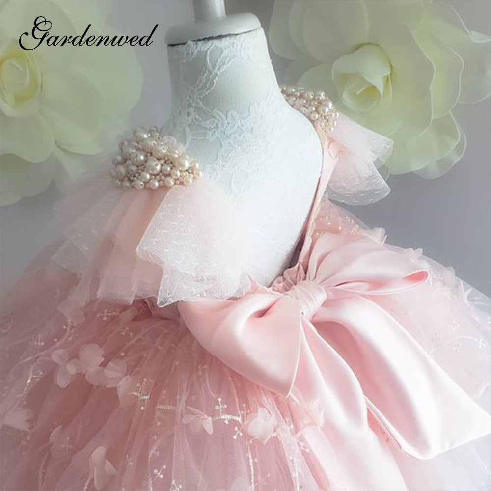 Cute Puffy Pink Princess Dresses Ball Gown Pearls Cluster Girls  Flower Girl Dresses Tulle Lace Satin Bow Communion Dresses