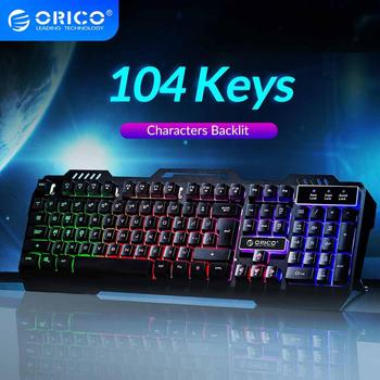 ORICO Wired Gaming Keyboard Mechanical Keyboard 104 keys Waterproof LED Backlit USB Keyboards With 19 keys without conflict