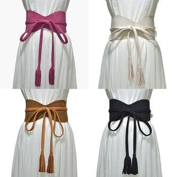 Corset Belt Wide Female Long Tassel Waistband Solid Color Self Tie Faux Leather Cummerbunds DIY Knotted