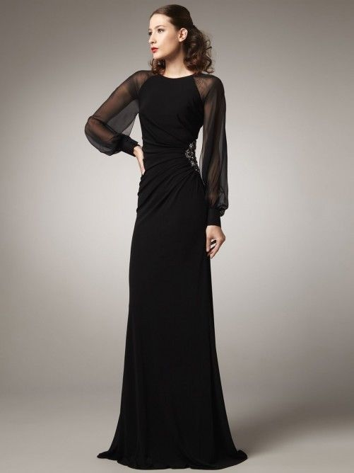 Free Shipping 2018 Long Sleeves Hot Sale Vestido De Gala Formal Black Custom High Neck Evening Gown Mother Of The Bride Dresses