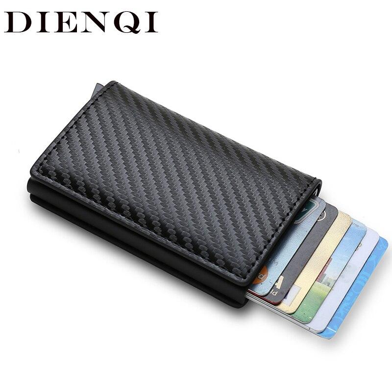 DIENQI Rfid Card Holder Men Wallets Money Bag Male Vintage Black Short Purse 2021 Small Leather Slim Wallets Mini Wallets Thin