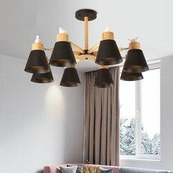 New Arrival LED żyrandol do salonu biały drewniany połysk czarny metalowy żyrandol nowoczesne nabłyszczania ptaki E27 nabłyszczania