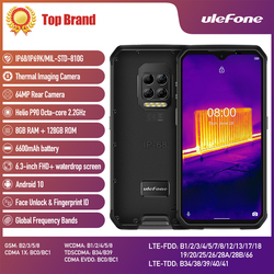 Смартфон Ulefone Armor 9, 8 + 128 ГБ, телефон с защитой от ультрафиолета, Android 10, Восьмиядерный Helio P90, 6600 мАч, камера 64 мп