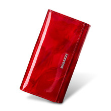 Genuine Leather Womens Wallet Leisure Purse 2019 New Fashion Women Wallets Female Long Coin Card Holders Red
