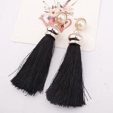 Модные женские богемные длинные серьги с кисточками и кристаллами
