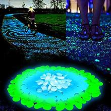 200Pcs Glow in the Dark Garden Pebbles Glow Stones Rocks for Walkways Garden Path Patio Lawn Garden Yard Decor Luminous Stones