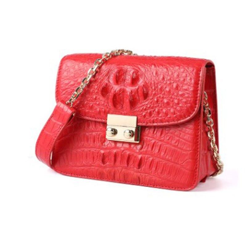 Hujingsha Korean Crocodile Skin Female Bag With One Shoulder Cross - Slung Chain Leather Female Women Handbag