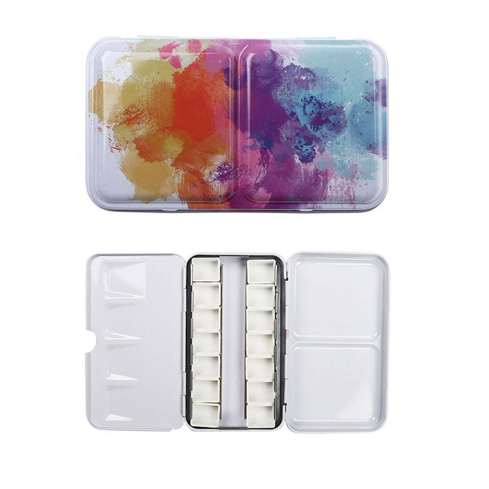 Watercolor Paints Tins Box Airtight Palette With 14 Empty Pans Travel Painting Storage Iron Paint Boxs For Art Painting Supplie