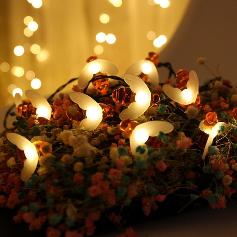 1/2/3M  Bee Fairy Lights Garland Lights Led Lights String Indoor Room Bee String Lights Christmas Decoration New Year Decor