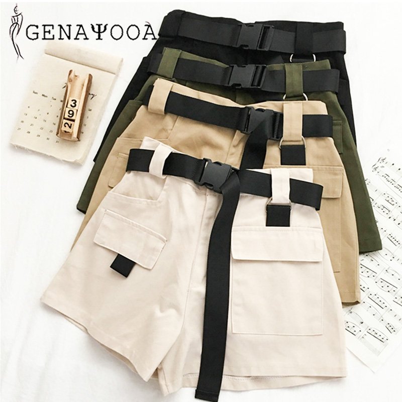Genayooa Streetwear Shorts Women Fitness Korean Summer 2020 Woman High Waist Wide Leg Cargo Women's Shorts Feminino Pocket