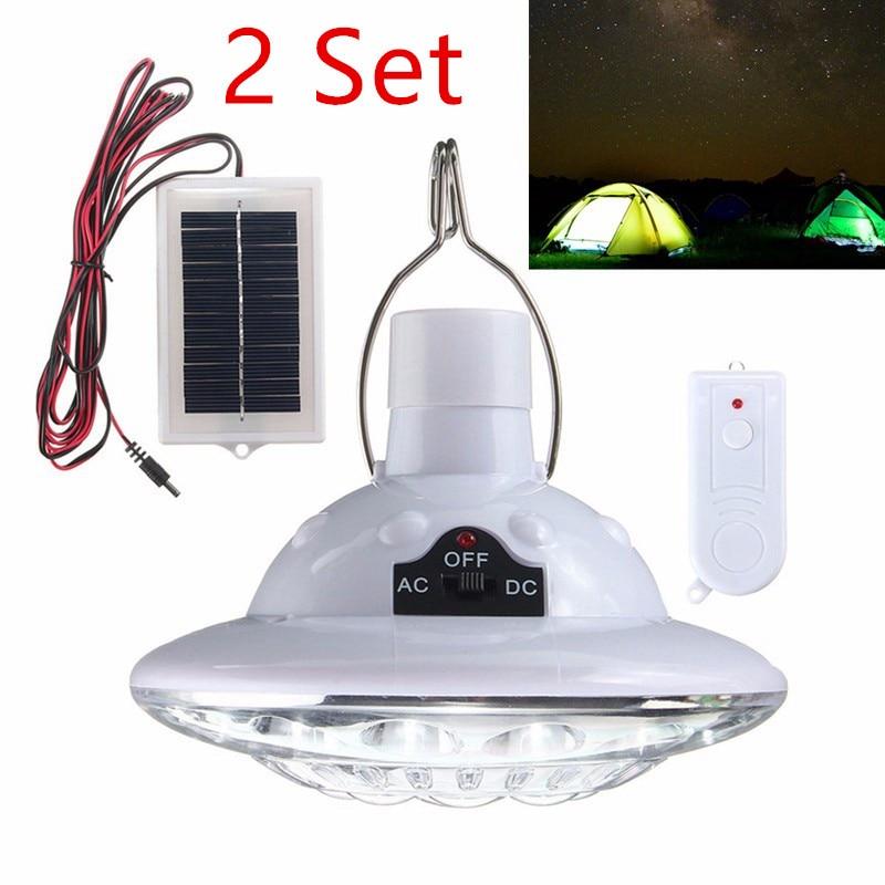 2 conjunto 22 led de energia da lampada solar portatil conduziu a luz acampamento jardim interior