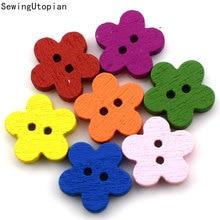 100PCS Random Mixed Dot Flowers 2 Holes Pattern Wood Sewing Buttons Scrapbooking 11MM Wood Button