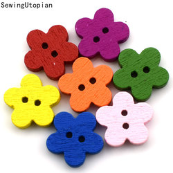100PCS Random Mixed Dot Flowers 2 Holes Pattern Wood Sewing Buttons Scrapbooking 11MM Wood Button