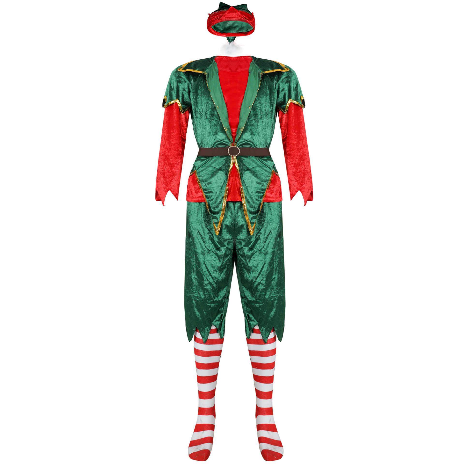 คริสต์มาสเครื่องแต่งกายคอสเพลย์ผู้ชายผู้หญิงคู่เสื้อผ้าคริสต์มาสชุดเครื่องแต่งกายคริสต์มาส Santa ชุดคริสต์มาส Elf Unisex