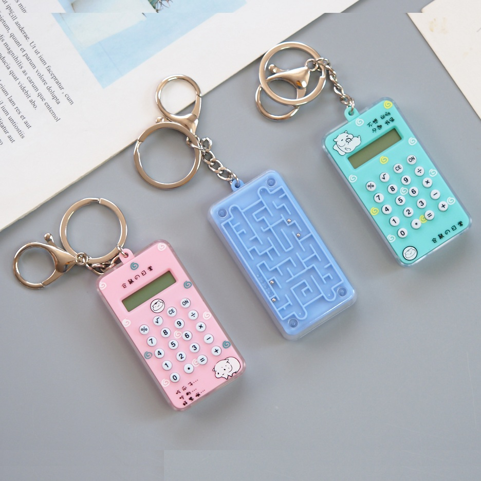 Pocket Cute Mini Calculator Keychain 8 Digits Display School Calculadora Portable With Mini Maze