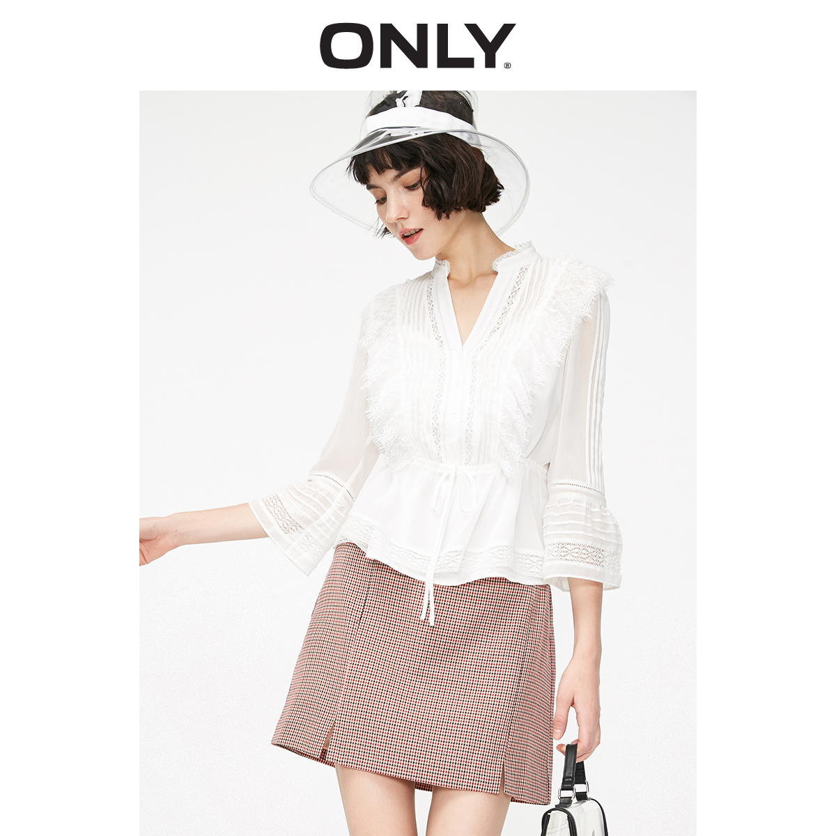 ONLY Women's Pure Color Flared Sleeves Spliced Lace V-neckline Chiffon Shirt | 119151523
