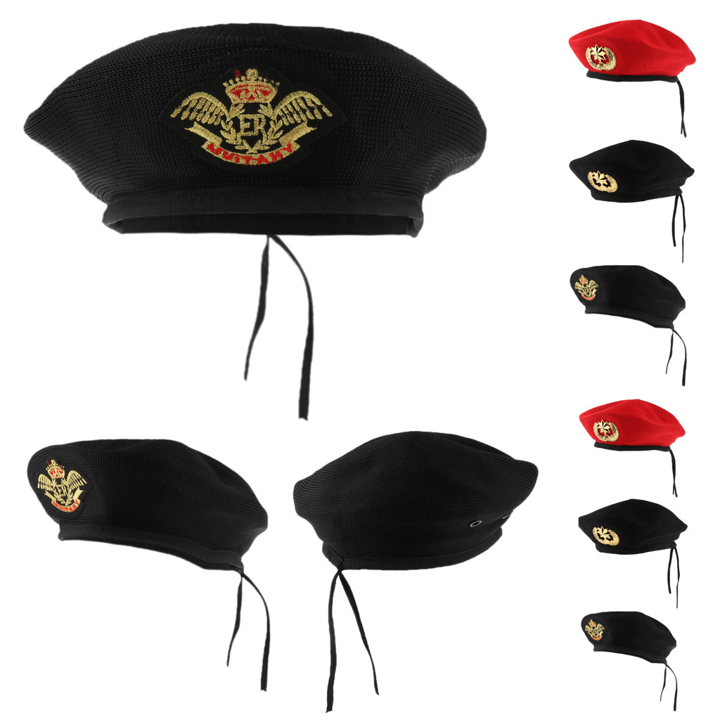 Adults Kids Sailor Hat Child Stage Show Role Play Hat  Red Black Knitted Beret Hat Navy Mariner Cap Costume Accessories