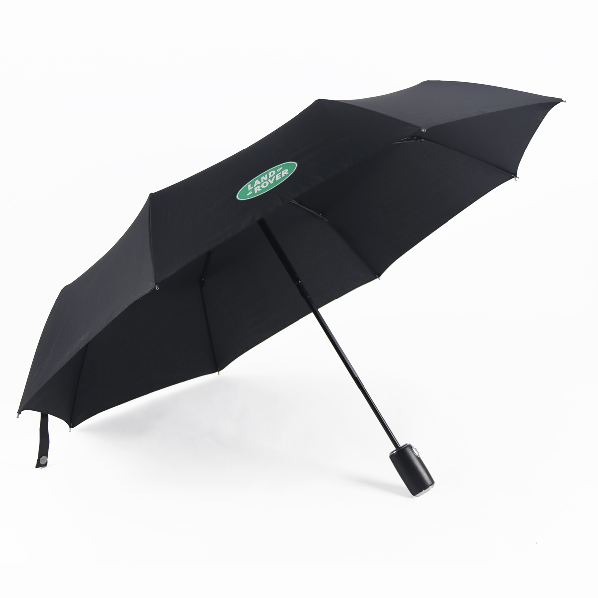 Currently Available Leather Handle Three Fold Folding Automatic All-Weather Umbrella High-Grade Gift Advertisement Shang Wu San