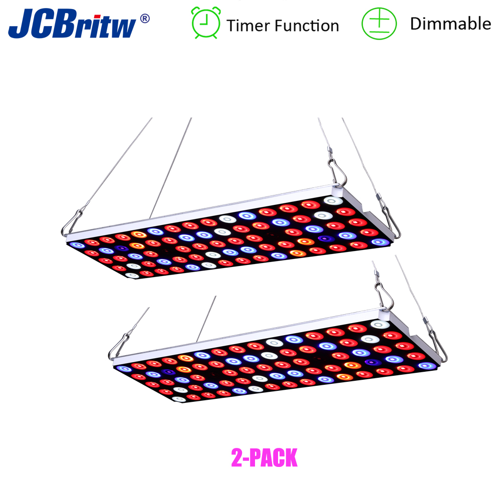 JCBritw LED Grow Light Full Spectrum Dimmable On Off Timer Plant Growing Lamp 30W For Indoor Plants Hydroponic Greenhouse 2 PACK