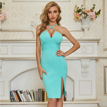 sexy dress for sex Bandage green Halter Bodycon midi Dress Off the Shoulder slit Sexy Nightclub Party Dresses fashion Wholesale casual off the shoulder sheath slit dress