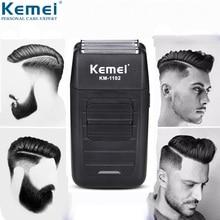 Kemei elektrikli tıraş makinesi erkek sakal düzeltici saç kesme aleti su geçirmez pistonlu tıraş makinesi USB şarj edilebilir yüz trimmer 5