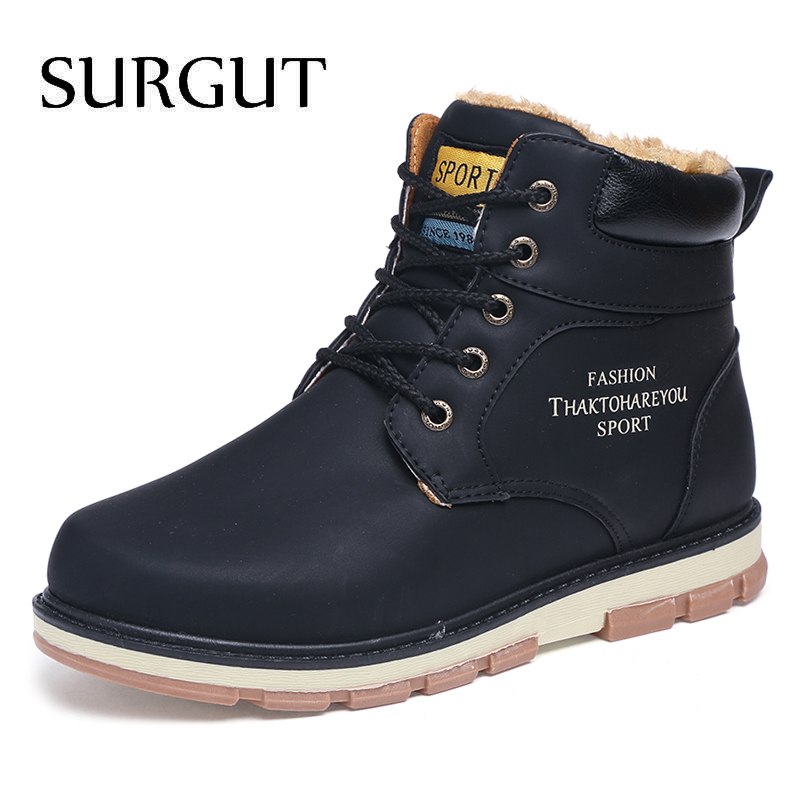 SURGUT Men Boots Autumn Winter With Fur 2019 Warm Snow Boots Men Casual Boots Work Shoes Men Footwear Fashion Ankle Shoes 39-46