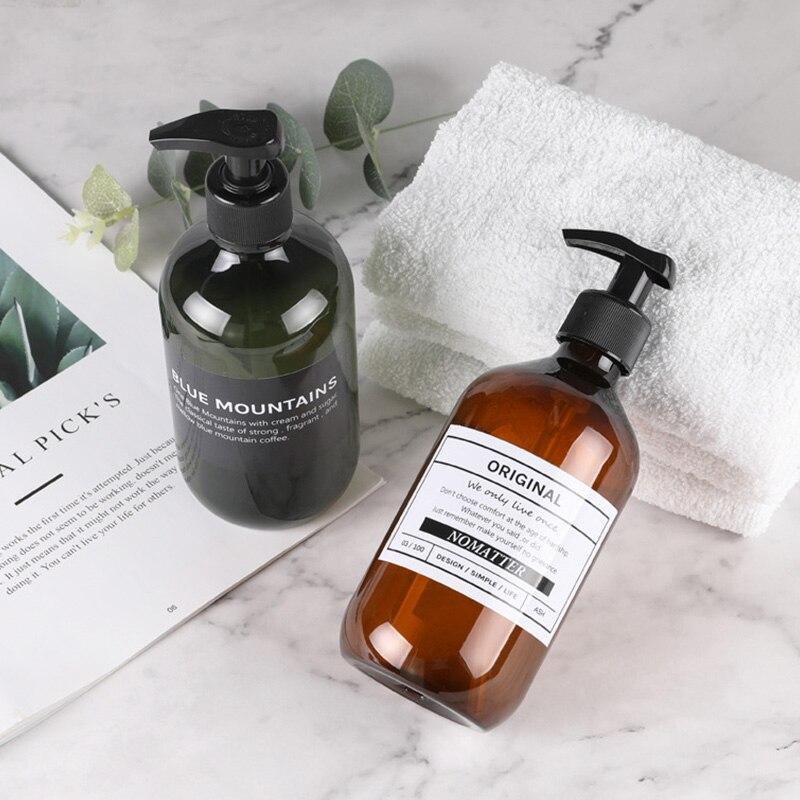 Travel Shampoo Shower Gel Press Bottle Hair Conditioner Body Wash Liquid Empty Bathroom Dispenser Soap Bottles Plastic 500ml