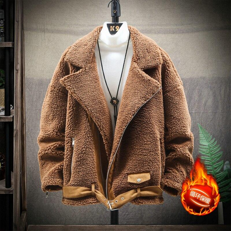 Зимняя куртка из овечьего меха, Мужская теплая Толстая модная однотонная повседневная куртка, мужские свободные хлопковые куртки, Мужская