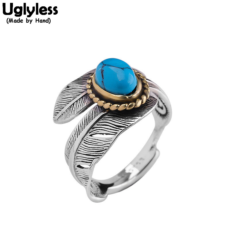 Uglyless Vintage Indian Stylish Feather Open Rings Women Bohemia Turquoise Adjustable Rings Solid 925 Silver Fine Jewelry R1042