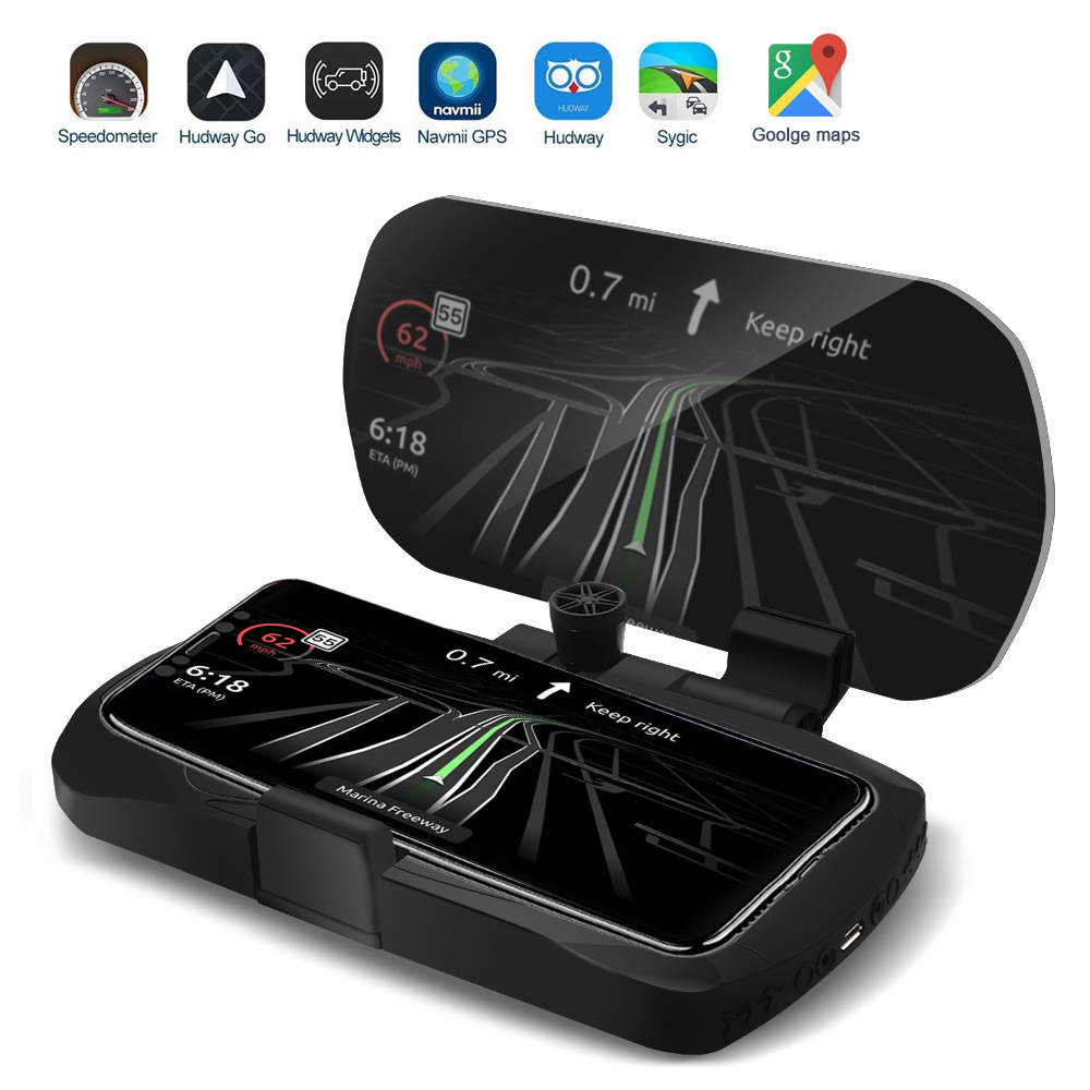 2020 New HUD Mobile Phone Holder Head Up Display 10W Wireless Charger GPS Navigation Car Speed Projector Car Charging Bracket 5