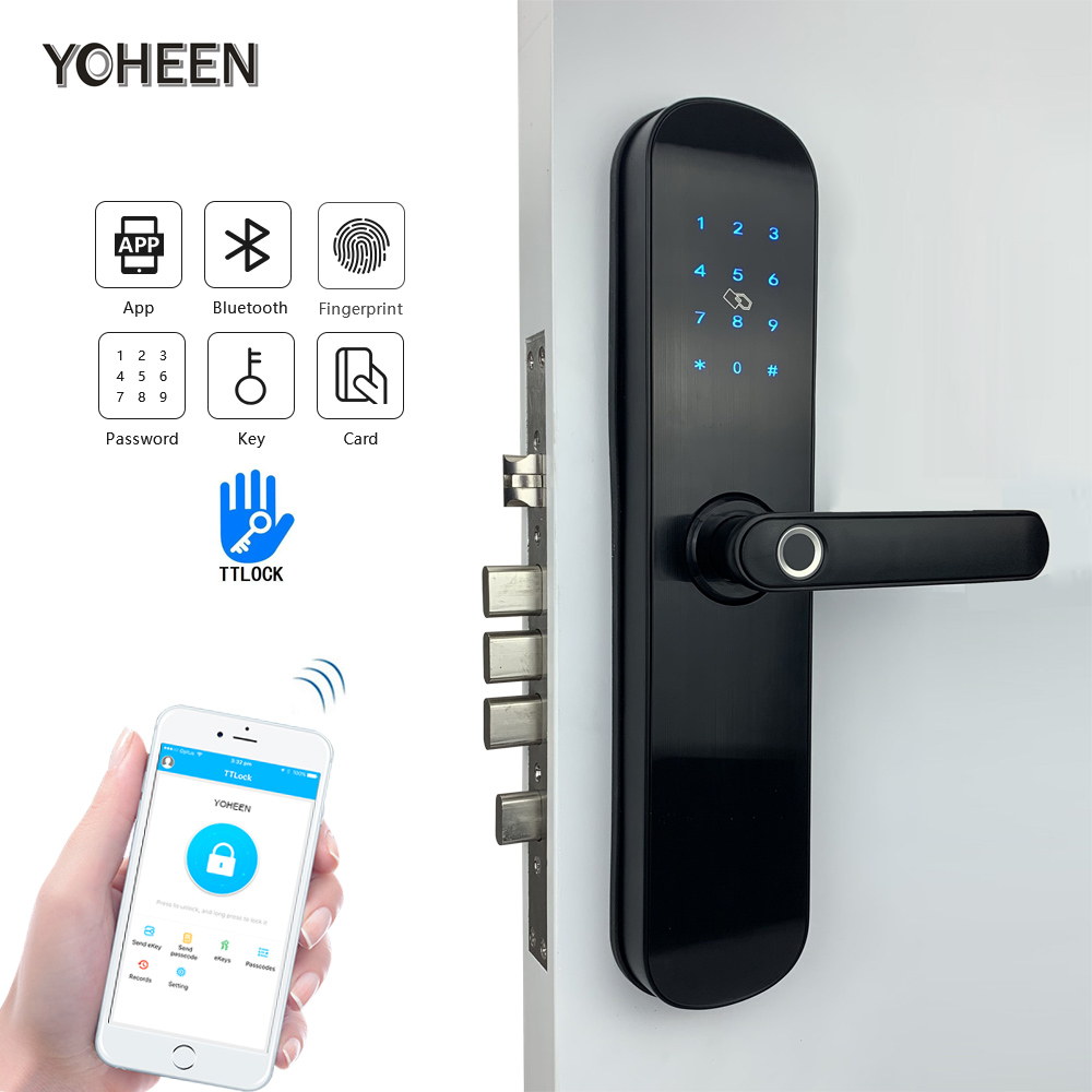 Electronic Security Smart Bluetooth App WiFi Digital Code IC Card Biometric Fingerprint Door Lock for Home
