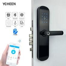 Sécurité électronique intelligente, application Bluetooth, WiFi, Code numérique, carte IC, serrure de porte biométrique à empreintes digitales pour la maison