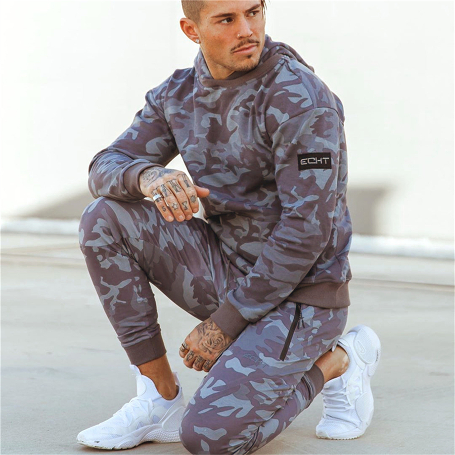 Sporting Suits Men 2019 Brand Fitness Tracksuit Autumn Men Set Long Sleeve Camouflage Hoodies+Pants Gyms Casual Sportswear Suit