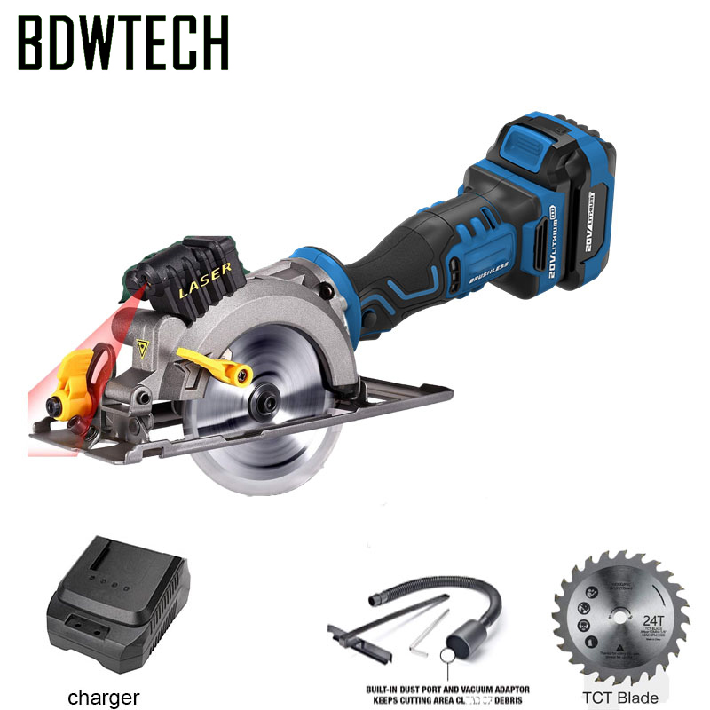 BDWTECH BT526 Mini portable 20V Electric cordless circular saw with lase function and Wood saw blade Free Return