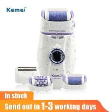 Kemei 3 em 1 depilador elétrico para as mulheres arquivo de pé eletrônico máquina depilação do sexo feminino recarregável remoção do cabelo
