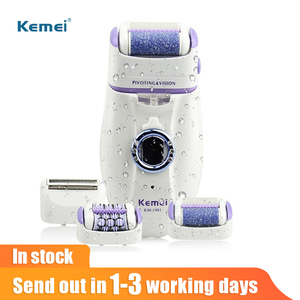 Image 1 - Kemei 3 in 1 Electric Epilator For Women Electronic Foot File Female Depilation Machine Rechargeable Hair Removal