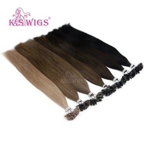 Image 2 - K.S WIGS 16 0.8g/s Real Remy Nail U Tip Hair Extension Pre bonded Keratin Capsule Double Drawn Straight Fusion Hair