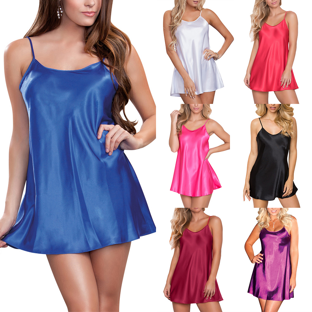 Sexy Silk Satin Nightgown Women Sleeveless Strap Nightwear Ladies Sleepwear Female Night Dresses Home Mini Night Dress 3XL D30