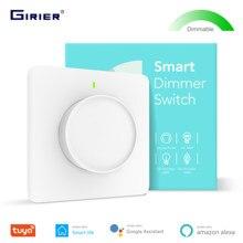 Tuya akıllı Wifi sönük ışık anahtarı, akıllı ev döner kısılabilir duvar anahtarı 100-240V, alexa Google ev ile çalışmak akıllı yaşam App