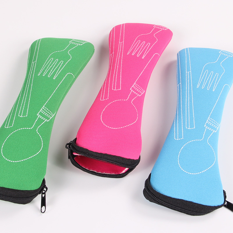 4pcs/set Portable Tableware Pouch Cutlery Cover Household Kitchen Utensils Students Dinnerware Bag