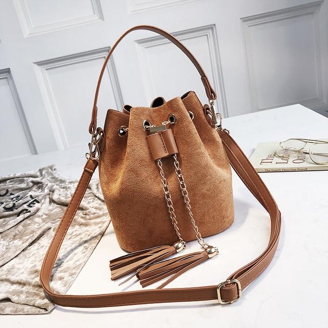 2019 New Mini Crossbody Handbags Cute Suede Bucket Bag Organizer Small Tassel PU Leather Womens Shoulder Messenger Bags Bolsos 3