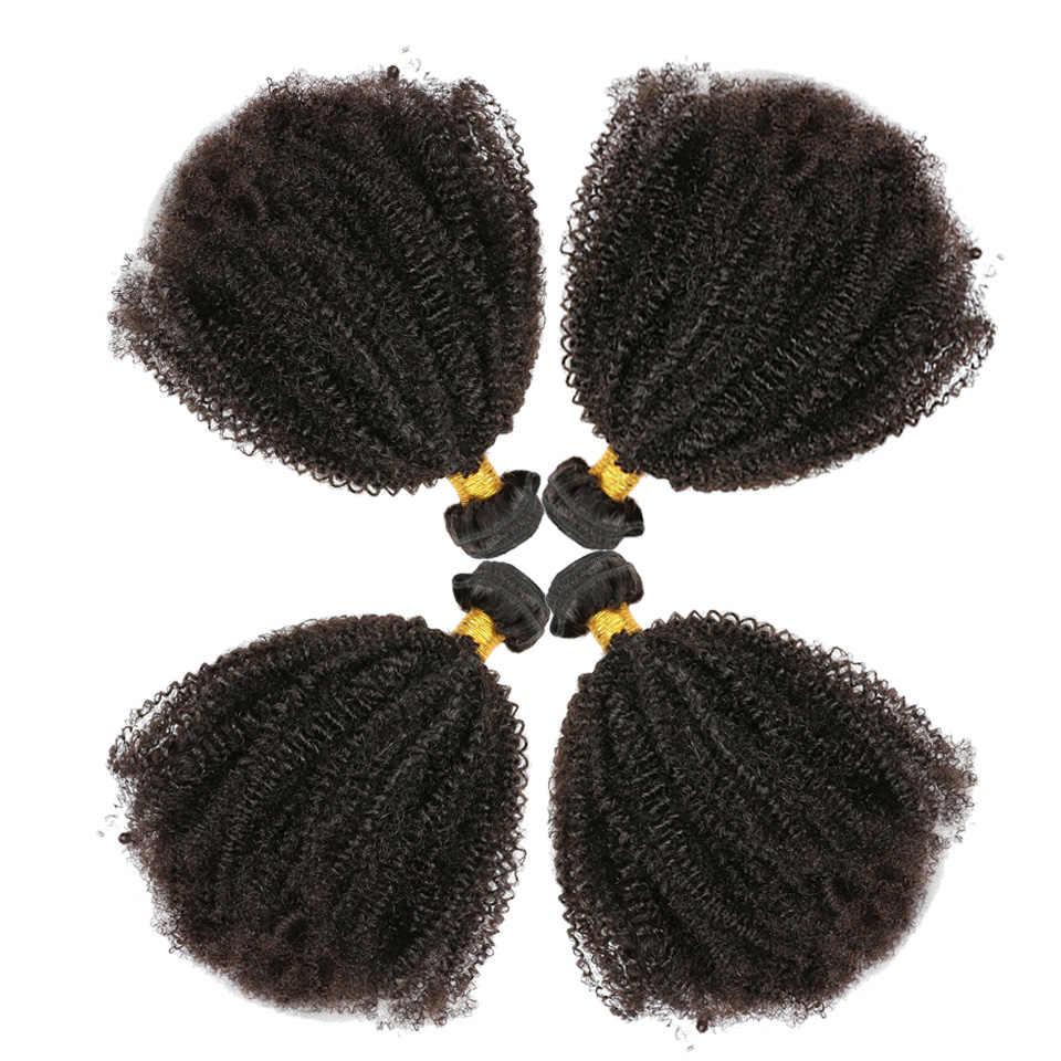 Afro Kinky Rambut Keriting 3 Bundel Brasil Rambut 100% Remy Rambut Manusia Bundel Ekstensi 8-30 Inci Alami Double pakan Tenun