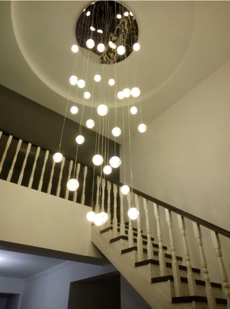 Glass Crystal Ball Pendant Light Modern Led Stair Pendant Lamps Duplex Villa Hall Simple Spiral Led Staircase Long Hanging Light