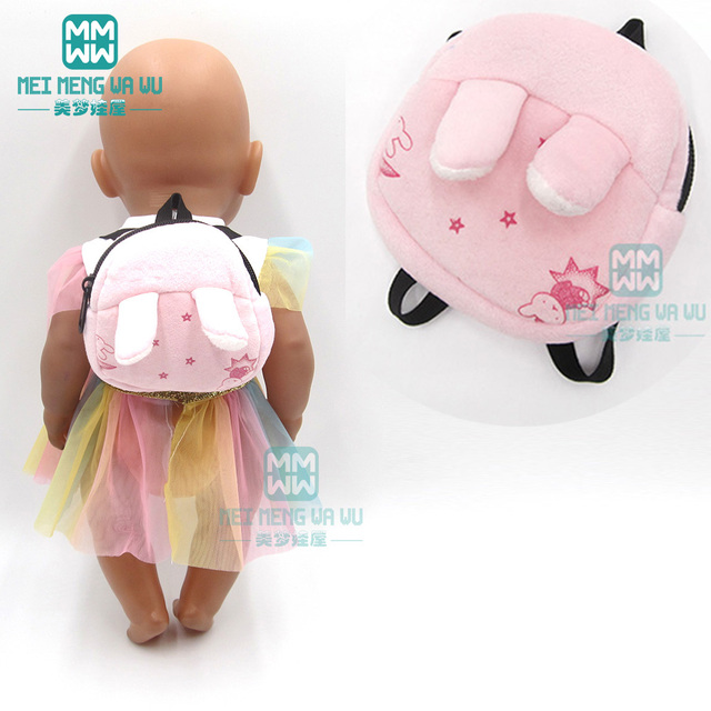 Accessories for doll fit 43 cm toy new born doll baby fashion Cartoon plush backpack