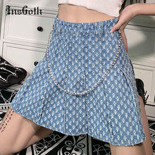 InsGoth Grunge Blue Denim With Hole Skirt Goth Streetwear A Line Hight Wasit Pleated Mini Skirts Harajuku Punk Chain Y2K Skirt