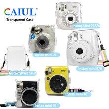 Przezroczysty kryształ z tworzywa sztucznego pokrywa ochronna Case torba z paskiem do aparatu fotograficznego Fujifilm Instax Mini aparat fotograficzny dla Mini 8/9/7s/25/26/70/90/SP2